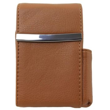 Genuine Leather Tan Fliptop Cigarette Case
