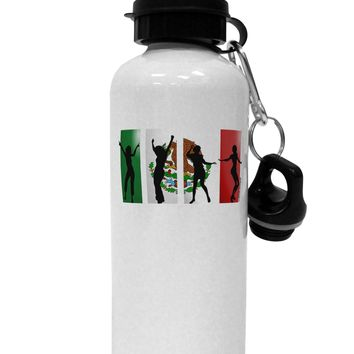 Mexican Flag - Dancing Silhouettes Aluminum 600ml Water Bottle by TooLoud