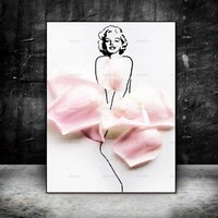 Canvas Painting flower figure  Wall art Picture wall painting art canvas Picture decor poster art print girl on canvas  Picture