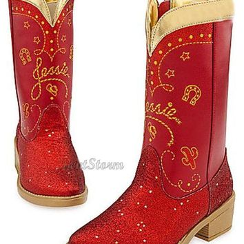 Licensed cool Disney Store Toy Story Cowgirl JESSIE Sparkle Costume Red Boots Dress UP 2/3 NEW