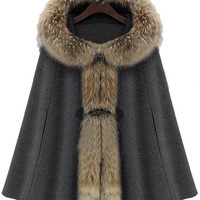 Dark Grey Fur Hooded Buckle Ruffles Cape Coat -SheIn(Sheinside)