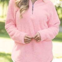 Womens Pink Zipped Pullover Fleece Outfit