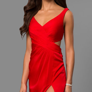 Short V-Neck Homecoming Dress with Cut Out Back