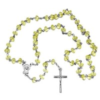 Religious Light Yellow Faceted Rondelle Beads 8mm x 6mm Rosary With Mother Mary and Jesus Cross - 28 inch Necklace - 6 inch Drop Length