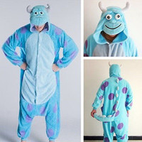 Hot New Adult Monsters University Sulley Costume Cosplay Pajama Onesuit sleepwear