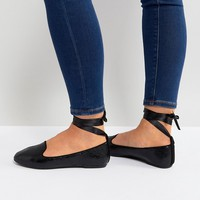 RAID Black Ankle Tie Flat Shoes at asos.com