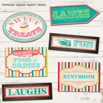 Circus Party - Birthday Party Signs - Vintage Inspired Carnival - 6 Unique Designs - Personalized, Printable designs - Custom Activity Signs