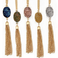 Fashion Resin Colored Oval Druzy Long Tassel Necklaces Pendants for Women