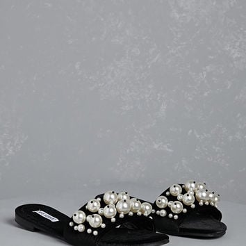 Faux Pearl Velvet Slide Sandals