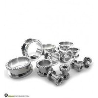 Stainless Steel CZ Bling Ear Tunnels | Diamond Gauges | UrbanBodyJewelry.com