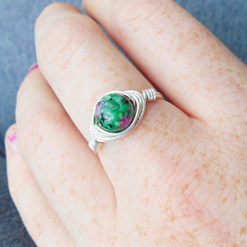 Ring, silver ring, Ruby Zoisite ring, Ruby Zoisite jewelry, wire jewelry, wire wrapped ring, bohemian ring, custom ring, healing jewelry