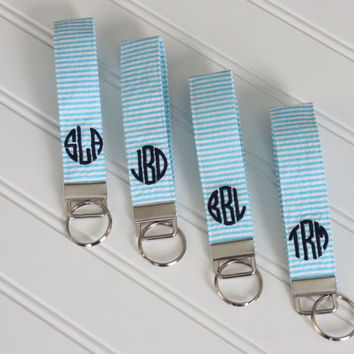 Monogrammed Seersucker Wristlet Key Fob - Bridesmaid Gift - Preppy - Graduation Gift - Sorority Gift