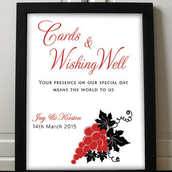 Wishing Well Sign Wedding Printable - DIY Wedding Card Box Wishing Well - Printable Wedding Poster - Wedding Reception | DIGITAL File Only