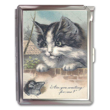 Vintage Cute Cat & Rat Cigarette Case Lighter Wallet Business Card Holder