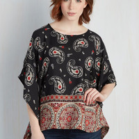 Mid-length Short Sleeves Serene Sentiments Top