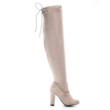 Hilltop20m Taupe By Wild Diva, Pull-On OTK Over Knee Block High Heel Dress Boots w Laced Back