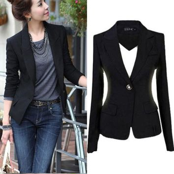 PEAPIX3 Fashion Women's One Button Slim Casual Business Blazer Suit Jacket Coat Outwear = 1930254916