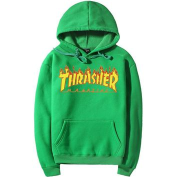 ThrasherMen and women with the flame hooded couples sweater Green