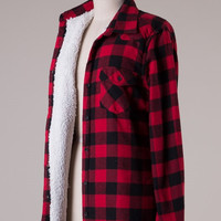 Faux Fur Lined Flannel - Red/Black