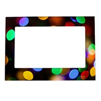 Multicolored Christmas lights. Magnetic Frame