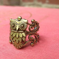 Beautiful Owl Ring in Antique Brass by LilyLeighs on Etsy