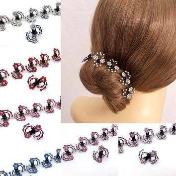 DCCKLW8 LNRRABC  6 Pcs/Set Rhinestone Flower Hair Clips Clamp Women Lady Hair Claws Bridal Jewelry Hair Accessories Barrettes Hairpin