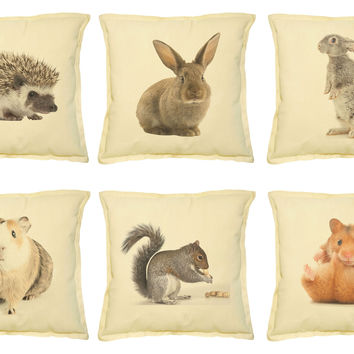 Animal-5 Printed Khaki Decorative Throw Pillows Cover Case VPLC_02 Size 18x18