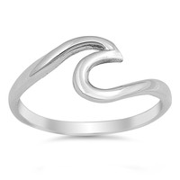 Sterling Silver Wave Ring 9MM