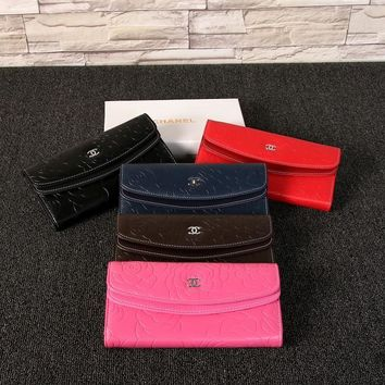 """""""Chanel"""" Women Solid Color Purse Simple Fashion Flower Embossed Long Section Button Three Fold Multifunction Wallet Clutch"""