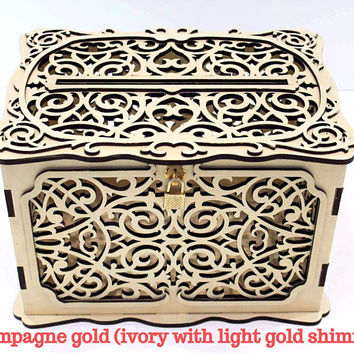 WEDDING CARD BOX Locable, Wedding Money Box With Lock, Wedding Card Holder, Wedding Gift Card Box, Wooden Card Box, Wedding Keepsake Box