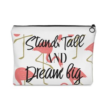 Stand Tall and Dream Big Flamingo Carry All Pouch - Flat