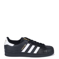 adidas Flat Superstar Three Stripe Leather Lace Up Sneakers in Black White Gold
