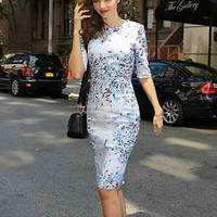 Spring Summer Pencil Dress Short Sleeve Casual Party Cocktail Multi-color S-L