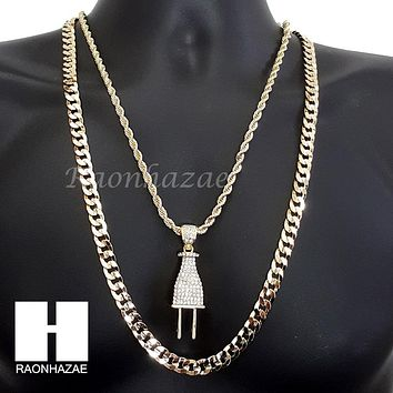"ICED OUT LIL UZI VERT PLUG CHARM DIAMOND CUT 30"" CUBAN CHAIN NECKLACE SET G15"
