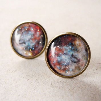 Galaxy Earring Studs - Rustic Copper Beige Fall Colors - Space Universe Jewelry (E032)