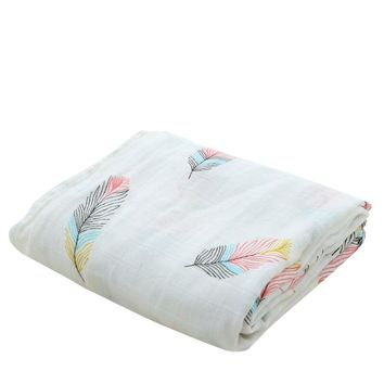 Bamboo Cotton Soft Baby Swaddle Feather Mermaid Pattern Muslin Wrap Infant Baby Bedding Muslin Baby Blanket For Newborn