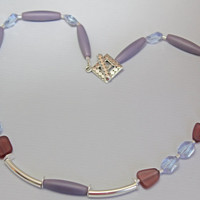 Lilac Necklace, Silver Noodle Beads, Purple Sea Glass, Ceylon Sapphire Twisted Beads, Pastel Colors, New Fashion Looks, Unique Design