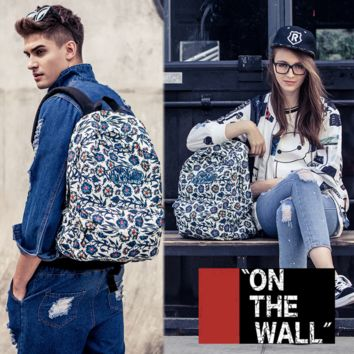 """Vans""Fashion Personality printing large capacity backpack bag leisure travel boom Blue coral(7 style)"