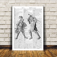 Medieval art Knight print Wall decor Middle ages poster RTA251