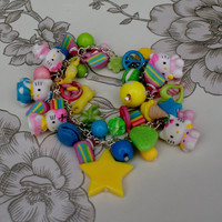 Pretty Pastels Hello Kitty Charm Bracelet by afairydoor on Etsy