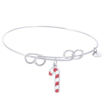 Sterling Silver Carefree Bangle Bracelet With Candy Cane W/Color Charm
