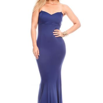 BLUE TUBE TOP LOOK PADDED CHEST MAXI DRESS