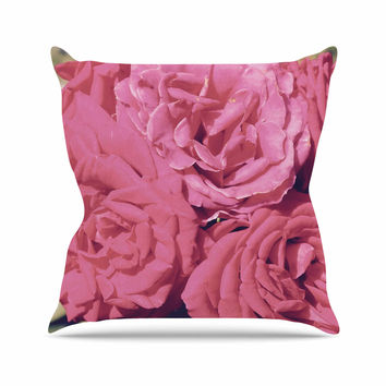 "Susan Sanders ""Blush Pink Blooming Roses"" Floral Photography Throw Pillow"