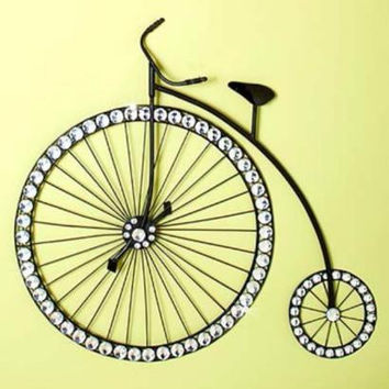 Penny Farthing Bicycle Wall Art Sculpture Large Wheeled Jeweled Black Decor NEW