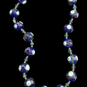UGHI Italian Handcrafted Blue Flower Bead Necklace with Citrine, Apetite and Pink Sapphire Beads