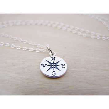 Lost Without You Compass Tiny Sterling Silver Necklace / Gift for Her