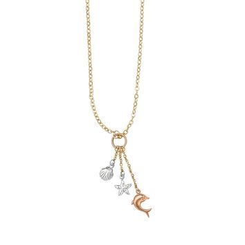 14K Yellow-White-Rose Gold Shiny Cable Chain Necklace with Lobster Clasp+Sta rfish+Dolphin+Sea Shell Charm