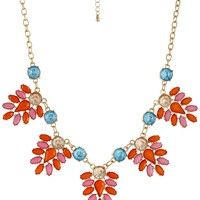 "Multi-Colored Cabochon Jeweled Leaf Gold-Tone Statement Necklace, 18.5"" + 3"" Extender"