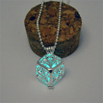 Sky blue glow in the dark silver 3d cube pendant necklace, key ring, or rear view mirror hanger