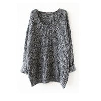 Women's Fashion Winter Long Sleeve Irregular Pullover Knit Tops Dipped Hem Loose Sweater [9609219151]